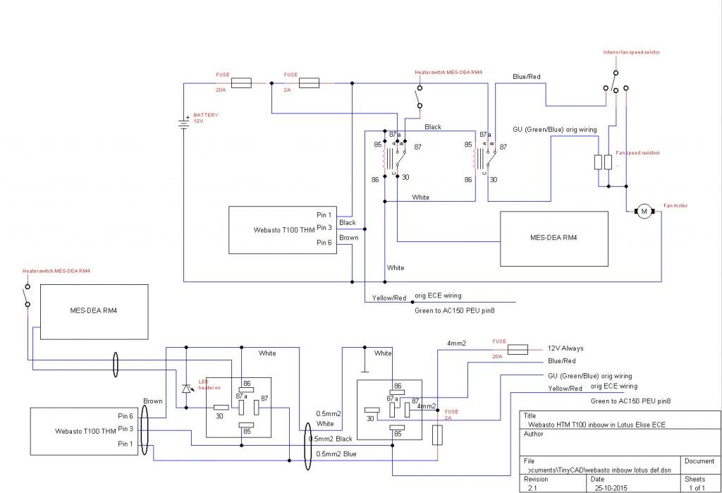 Webasto HTM T100 inbouw in Lotus Elise ECE